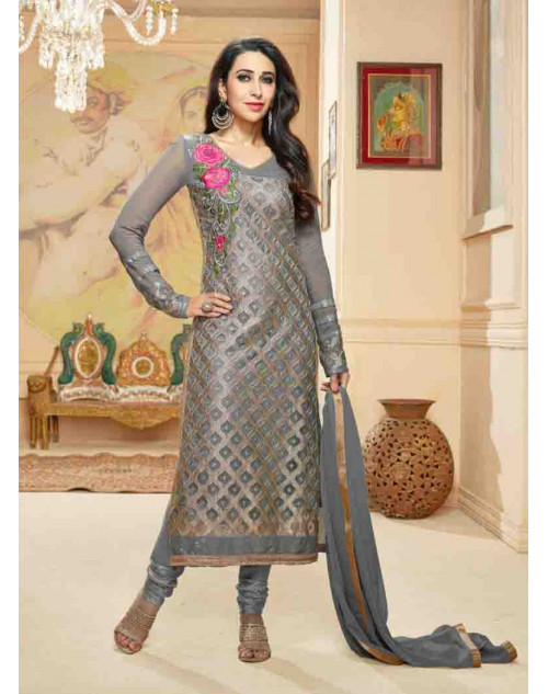Karishma Kapoor Grey Georgette Straight Suit