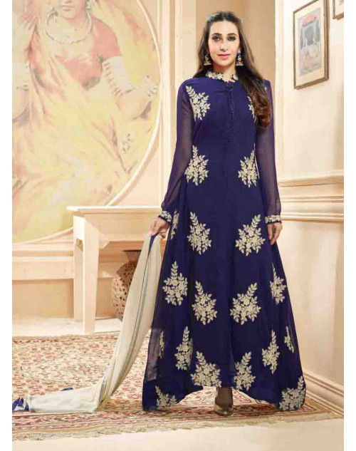 Karishma Kapoor Navy Georgette Straight Suit