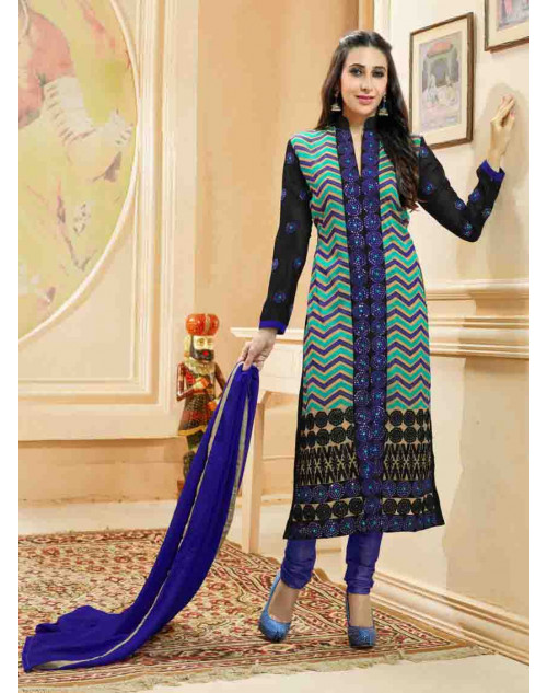 Karishma Kapoor Black and Blue Georgette Straight Suit