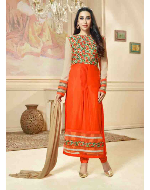 Karishma Kapoor Orange Georgette Straight Suit