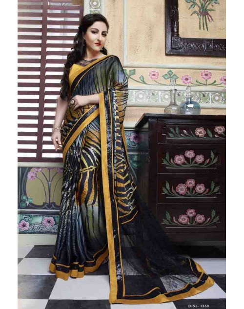 Soha Ali Khan Multi Color French Crepe and Jacquard Net Saree