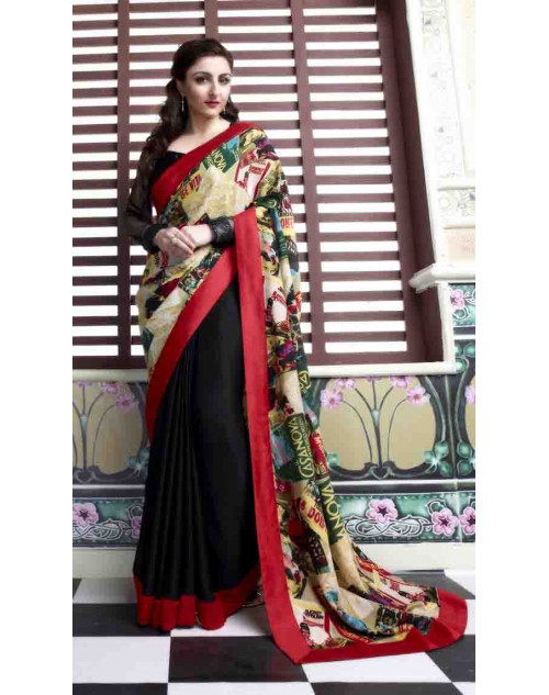 Soha Ali Khan Black Crepe Georgette and Satin Saree