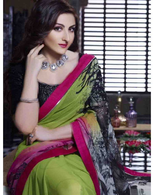 Soha Ali Khan PaleGreen Crepe Georgette and Satin Saree