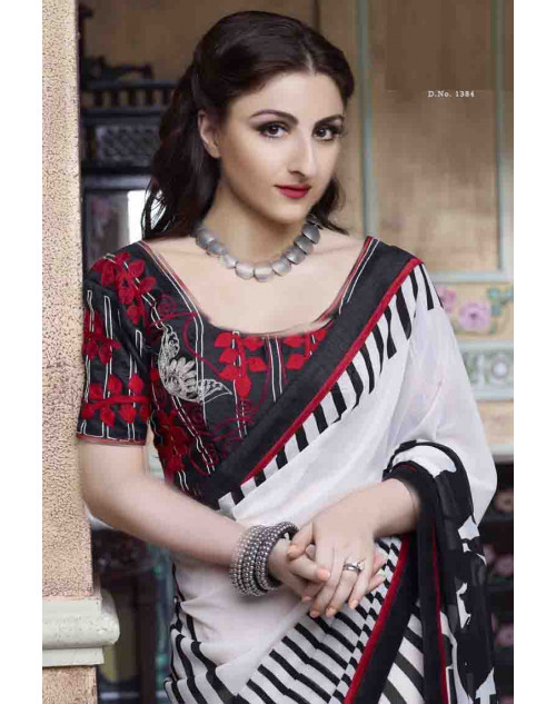 Soha Ali Khan White Georgette Saree