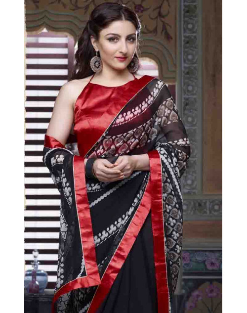 Soha Ali Khan Black and Red Georgette Saree