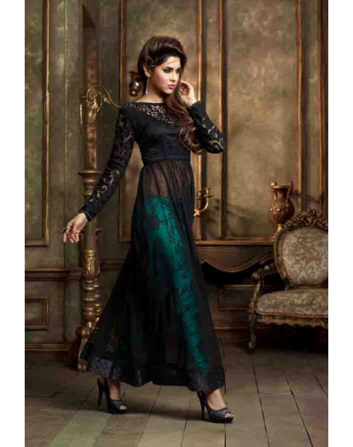 Designer Black and SeaGreen Net Semi Stitched Salwar Kameez