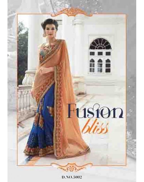 Designer NavyBlue Chiffon and Net Saree