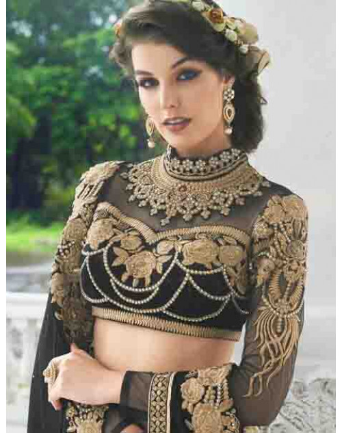 Designer Black Net and Georgette Saree