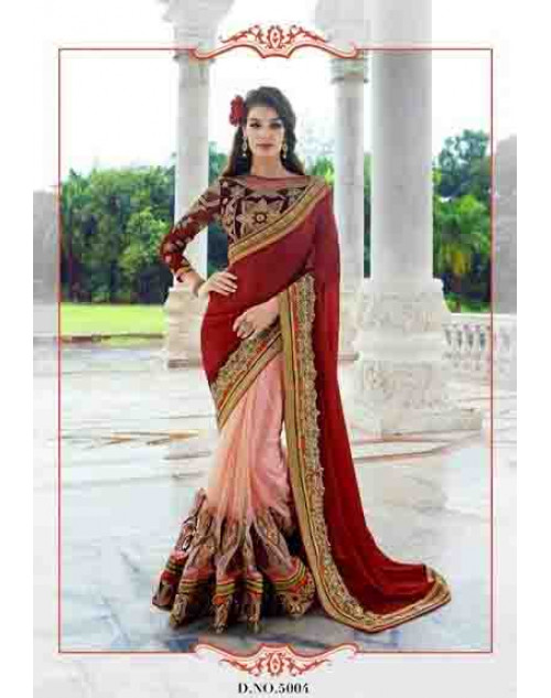 Designer Maroon and Pink Chiffon and Net Saree