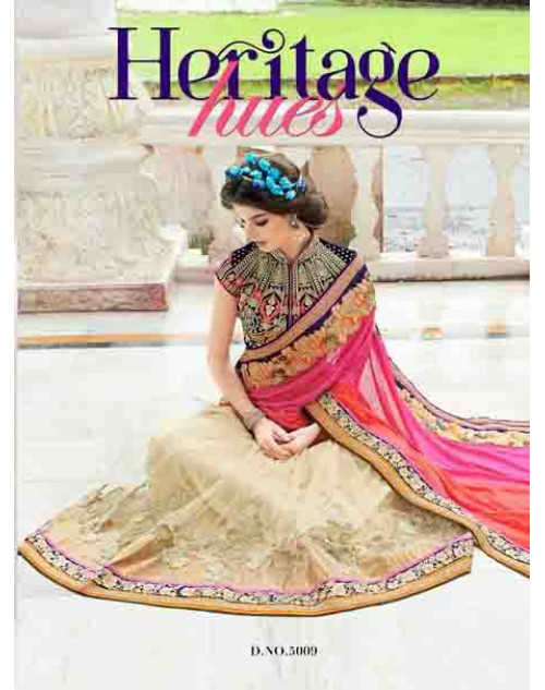 Designer Cream and Pink Net and Georgette Saree