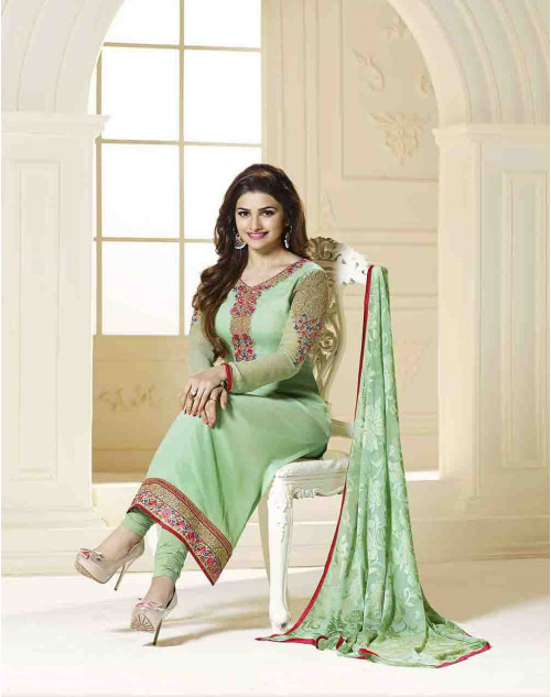 Prachi Desai Semi Stitched SeaGreen Georgette Straight Suit