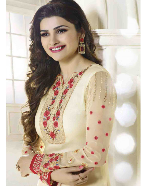 Prachi Desai Semi Stitched Cream Georgette Straight Suit