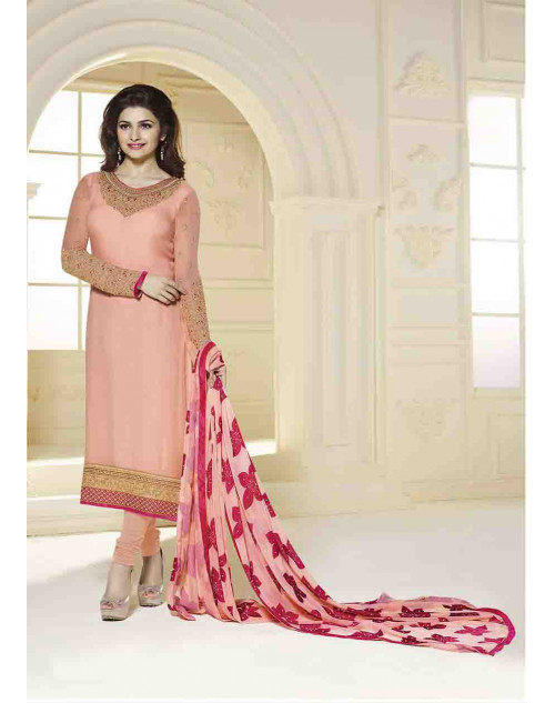 Prachi Desai Semi Stitched Peach Georgette Straight Suit