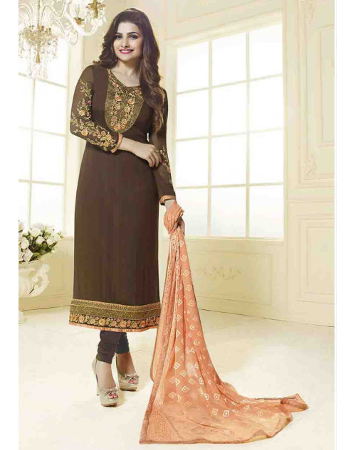 Prachi Desai Semi Stitched Brown Georgette Straight Suit
