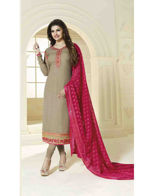 Prachi Desai Semi Stitched Beige Georgette Straight Suit