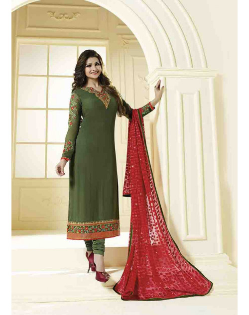 Prachi Desai Semi Stitched Green Georgette Straight Suit