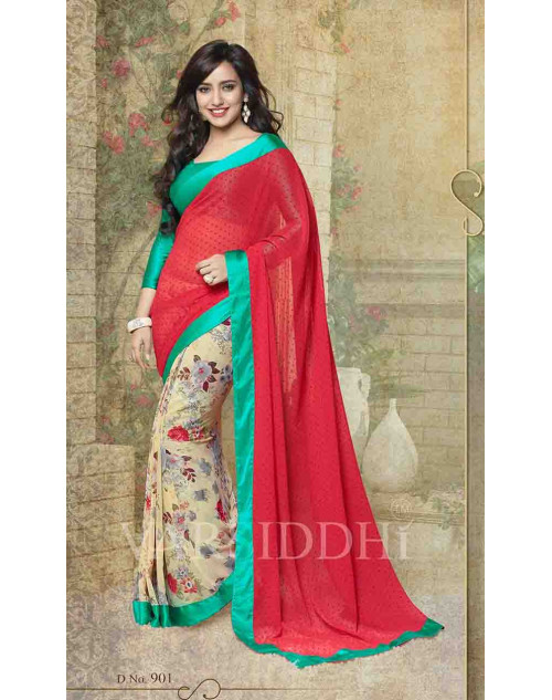 Neha Sharma Aquamarine and Maroon Georgette Saree