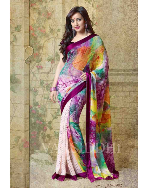 Neha Sharma Multi and Violet Georgette Saree