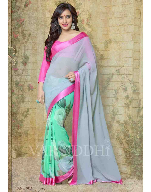 Neha Sharma Pink and Grey Georgette Saree