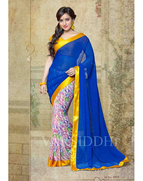 Neha Sharma Yellow and Blue Georgette Saree