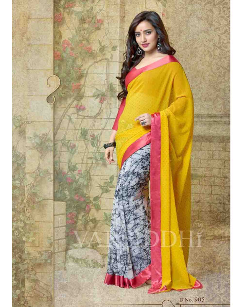 Neha Sharma Red and Yellow Georgette Saree