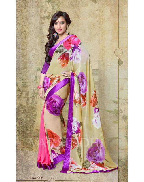 Neha Sharma Multi and Purple Georgette Saree