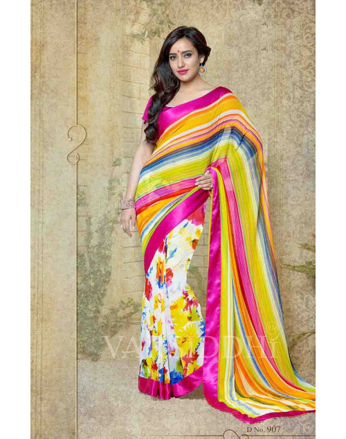 Neha Sharma Multi and Fuchsia Georgette Saree