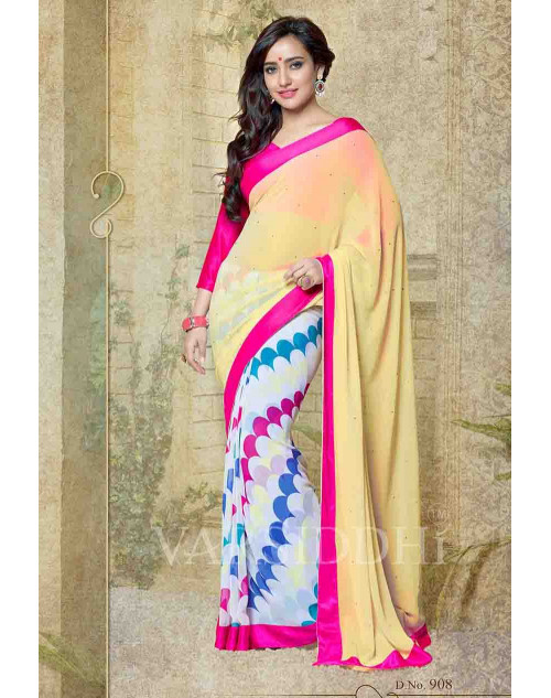 Neha Sharma Fuchsia and Bisque Georgette Saree