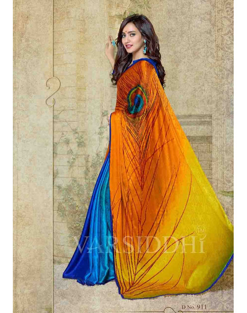 Neha Sharma Navy and Orange Silk Crepe Jacquard Saree