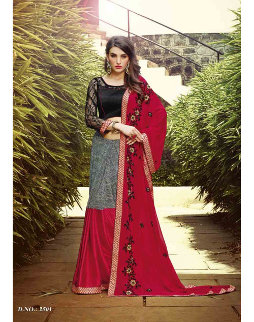 Red and Black Georgette Saree with Raw Silk and Net Blouse