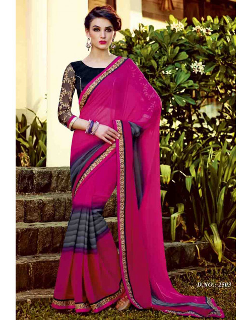 Pink and Black Georgette Saree with Raw Silk and Net Blouse