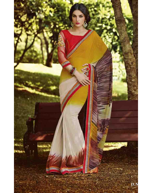 Multi and Red Georgette Saree with Raw Silk and Net Blouse