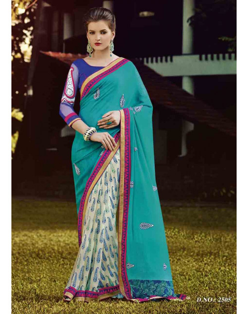 DarkCyan and Blue Georgette Saree with Raw Silk and Net Blouse