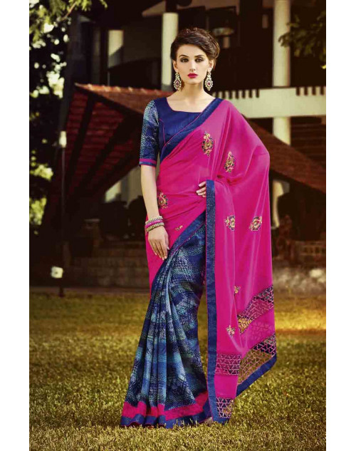 Blue and Pink Georgette Saree with Raw Silk and Net Blouse