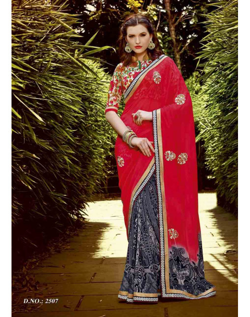 Multi and Tomato Georgette Saree with Raw Silk and Net Blouse