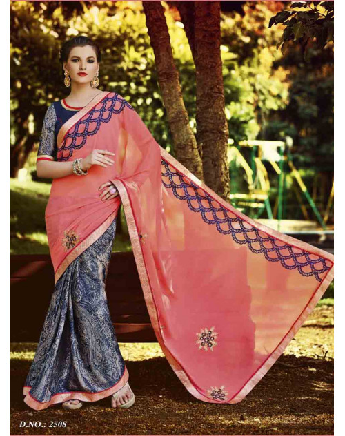 Salmon and Grey Peach Saree with Raw Silk and Net Blouse
