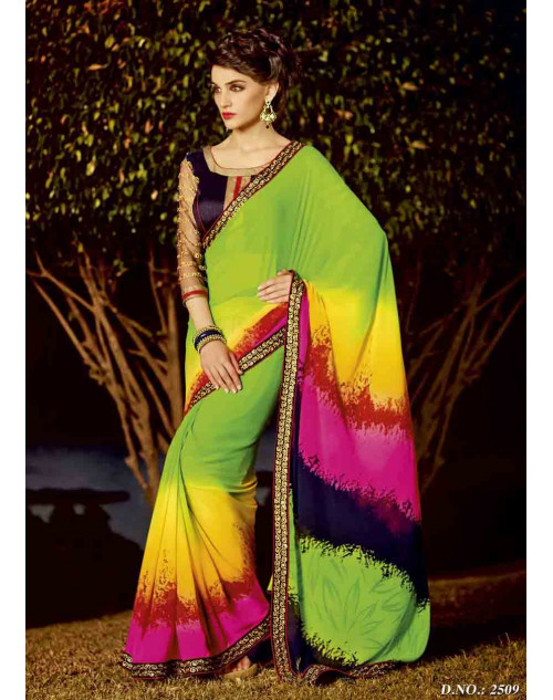 Lime and Navy Georgette Saree with Raw Silk and Net Blouse
