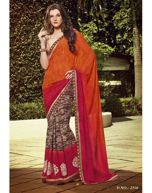 OrangeRed and Cream Georgette Saree with Raw Silk and Net Blouse