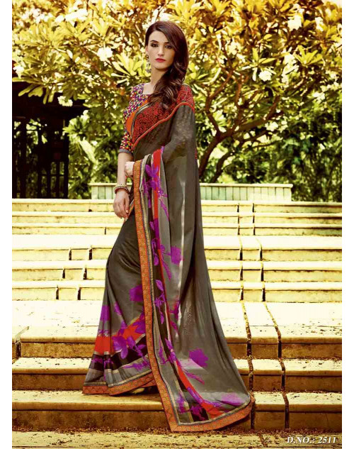 Multi and SlateGray Georgette Saree with Raw Silk and Net Blouse