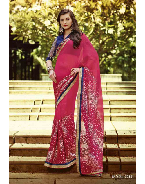 Pink and Navy Georgette Saree with Raw Silk and Net Blouse