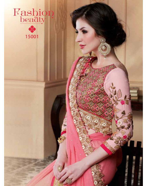 Designer Pink Georgette Embroidery Saree