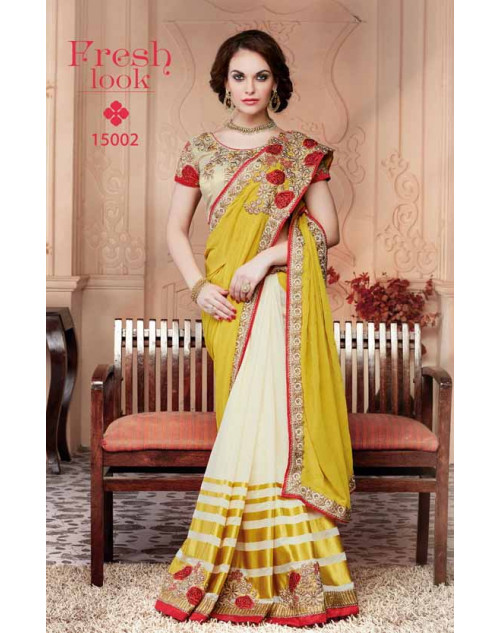Designer Yellow and Cream Pure Georgette Embroidery Saree