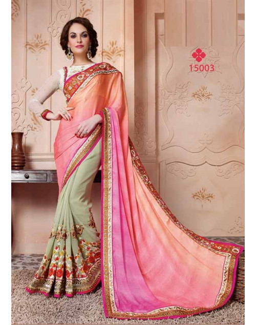 Designer Salmon and White Pure Banarasi Embroidery Saree