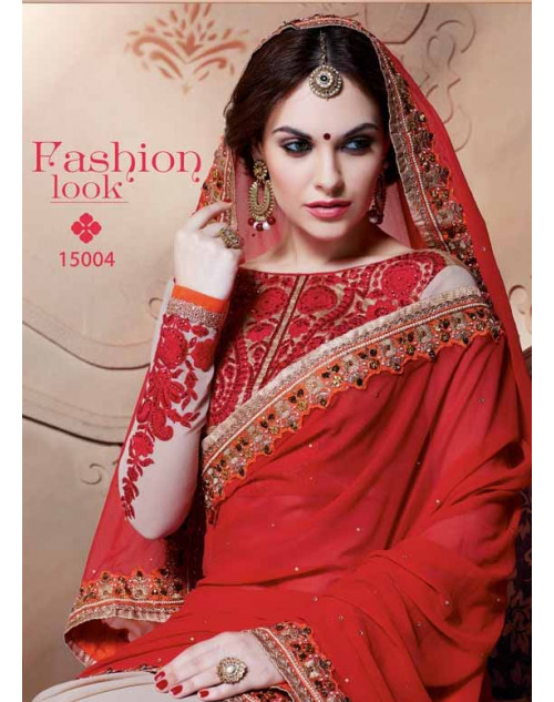 Designer Red Pure Georgette Embroidery Saree