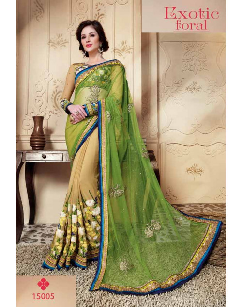 Designer LightGreen Soft Net Embroidery Saree