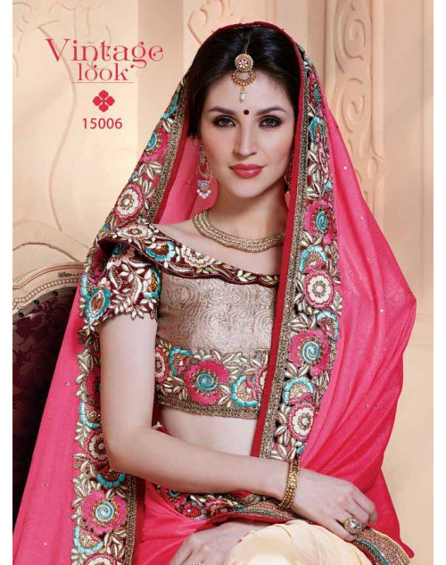 Designer Pink and Bisque Pure Banarasi Embroidery Saree