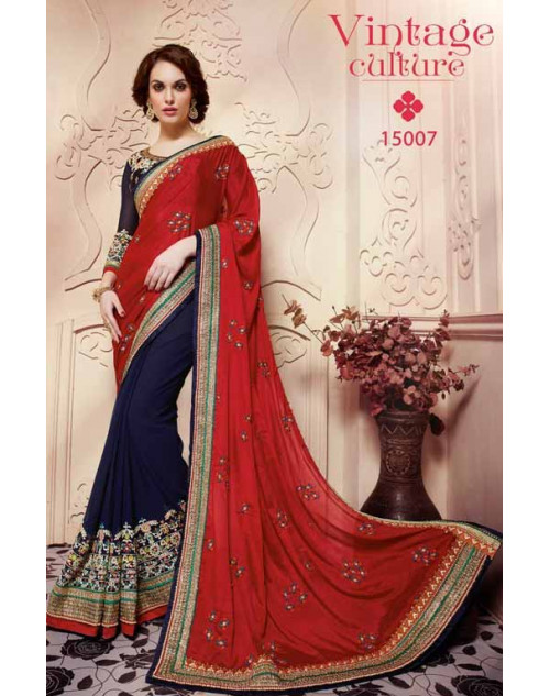 Designer Navy and Crimson Pure Banarasi Embroidery Saree