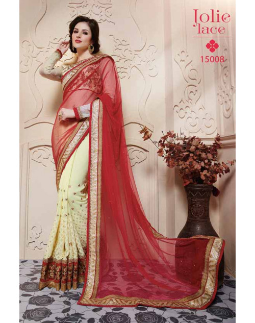 Designer LightYellow and Crimson Soft Net Embroidery Saree