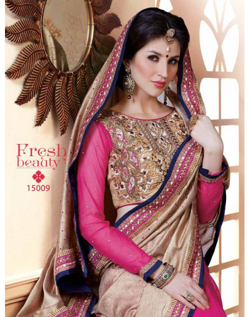 Designer Pink and BurlyWood Pure Banarasi Embroidery Saree