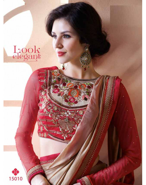Designer Crimson and Beige Banarasi Embroidery Saree